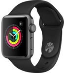 Apple Watch Series 3, 42 мм, корпус из алюминия цвета «серый космос», спортивный ремешок черного цвета