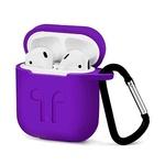 Чехол силиконовый с карабином Apple AirPods, фиолетовый