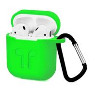 Чехол силиконовый с карабином Apple AirPods, ярко зеленый