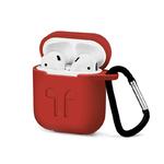 Чехол силиконовый с карабином Apple AirPods, красный