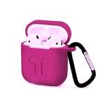 Чехол силиконовый с карабином Apple AirPods, розовый