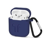 Чехол силиконовый с карабином Apple AirPods, синий