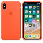 Чехол Silicon case iPhone X, оранжевый