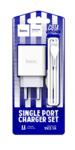Сетевое зарядное устройство Hoco C81A, 1USB, 2.1A+кабель Apple 1м, цвет белый