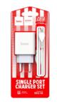 Сетевое зарядное устройство Hoco C81A, 1USB, 2.1A+кабель Micro 1м, цвет белый