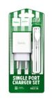 Сетевое зарядное устройство Hoco C81A, 1USB, 2.1A+кабель Type-C 1м, цвет белый