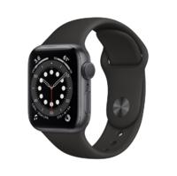 Apple Watch Series 6, 40MM, Корпус из алюминия цвета «серый космос», Спортивный ремешок черного цвета