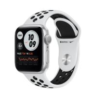 Apple Watch Series 6, Nike, 44MM, Корпус из алюминия серебристого цвета, Спортивный ремешок Nike цвета «Чистая платина/чёрный»