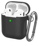 Чехол силиконовый с карабином Apple AirPods 2, черный