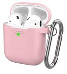 Чехол силиконовый с карабином Apple AirPods 2, розовый