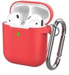 Чехол силиконовый с карабином Apple AirPods 2, красный