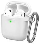 Чехол силиконовый с карабином Apple AirPods 2, белый