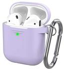 Чехол силиконовый с карабином Apple AirPods 2, лавандовый