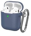 Чехол силиконовый с карабином Apple AirPods 2, синий
