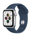 Apple Watch SE, 40MM, 2021, Корпус из алюминия серебристого цвета, Спортивный ремешок синего цвета