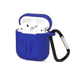 Чехол силиконовый с карабином Apple AirPods, ярко-синий